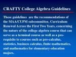 crafty college algebra guidelines