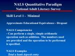 nals quantitative paradigm national adult literacy survey