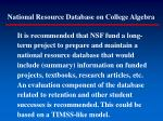 national resource database on college algebra