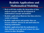 realistic applications and mathematical modeling