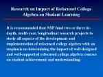 research on impact of refocused college algebra on student learning