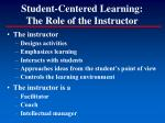 student centered learning the role of the instructor