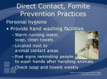 direct contact fomite prevention practices29