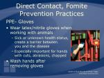 direct contact fomite prevention practices30