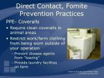 direct contact fomite prevention practices31