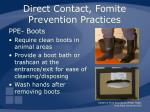 direct contact fomite prevention practices32