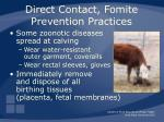 direct contact fomite prevention practices34