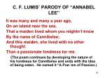 c f lumis parody of annabel lee