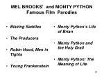 mel brooks and monty python famous film parodies