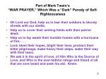 part of mark twain s war prayer which was a dark parody of self righteousness