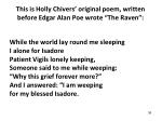 this is holly chivers original poem written before edgar alan poe wrote the raven