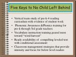 five keys to no child left behind