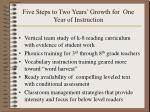 five steps to two years growth for one year of instruction