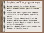 registers of language r payne