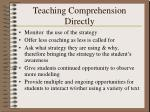 teaching comprehension directly