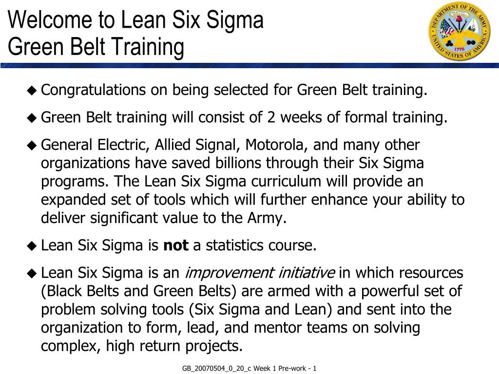 Ppt Welcome To Lean Six Sigma Green Belt Training Powerpoint