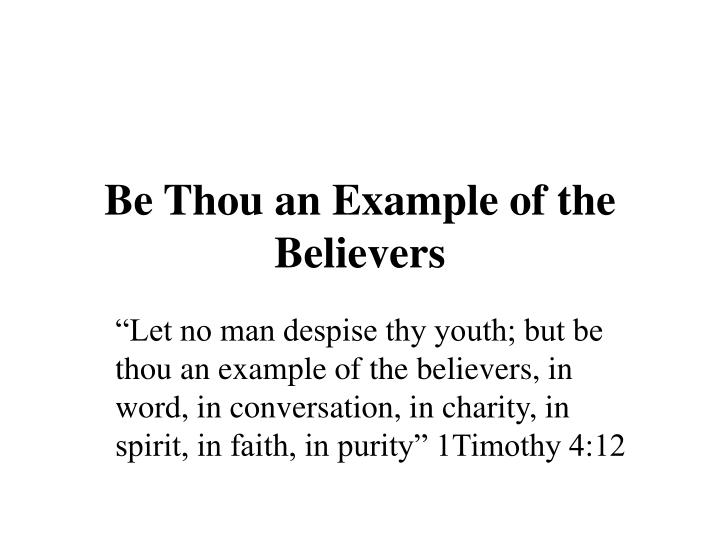 be thou an example of the believers n.