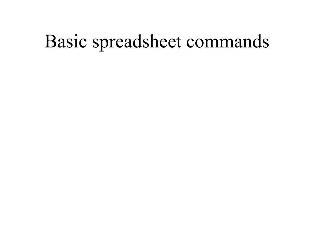 basic spreadsheet commands l.