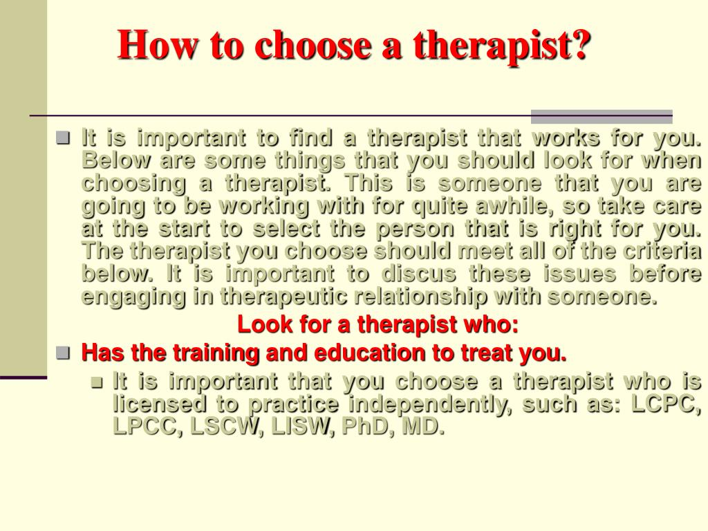 how to choose a therapist l.