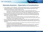 executive summary expectation considerations