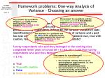 homework problems one way analysis of variance choosing an answer