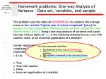 homework problems one way analysis of variance data set variables and sample