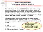 homework problems one way analysis of variance