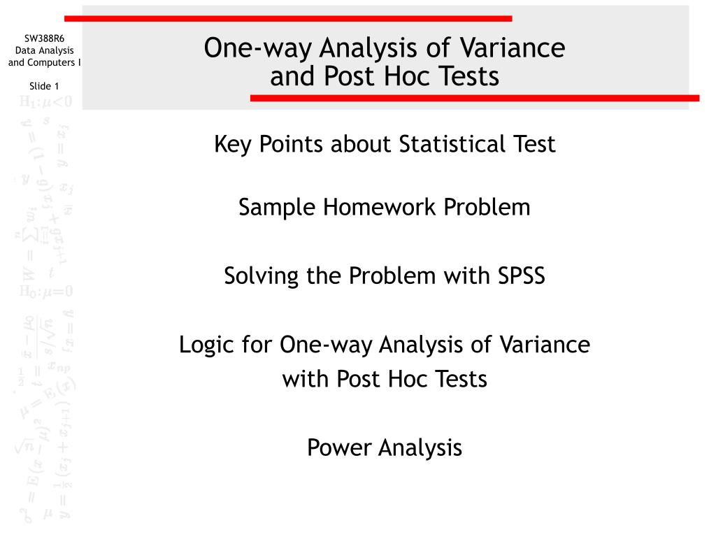 one way analysis of variance and post hoc tests l.