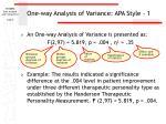 one way analysis of variance apa style 1