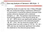 one way analysis of variance apa style 2