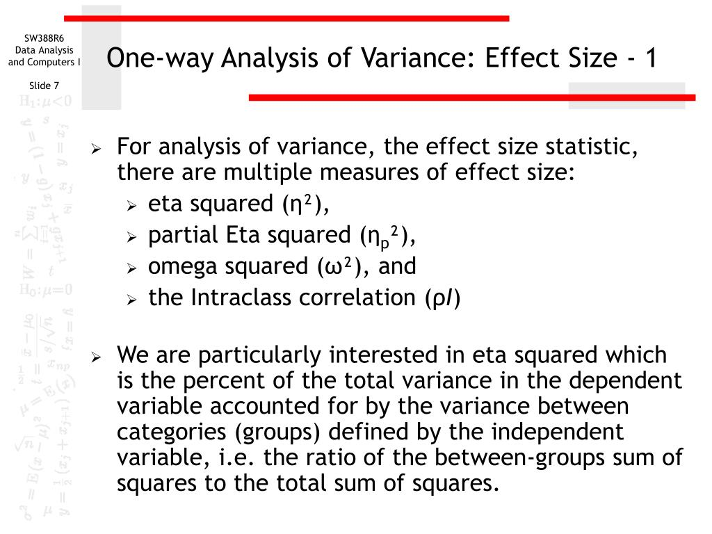 one way analysis of variance How to perform one-way analysis of variance (anova) in excel, including planned and unplanned comparisons, effect size, and homogeneity of variances testing.