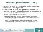supporting resident well being