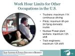 work hour limits for other occupations in the u s