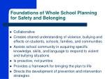 foundations of whole school planning for safety and belonging