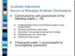 academic adjustment success in managing academic environment