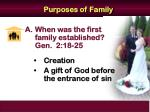 purposes of family