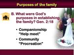 purposes of the family