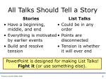 all talks should tell a story