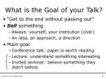 what is the goal of your talk