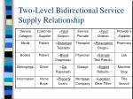 two level bidirectional service supply relationship