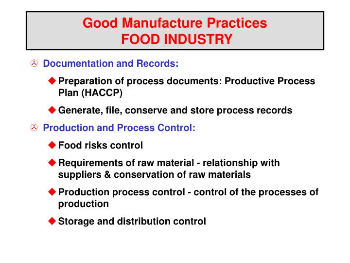 good manufacture practices food industry n.