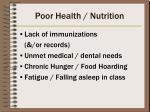 poor health nutrition