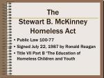 the stewart b mckinney homeless act
