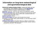 information on long term meteorological and agrometeorological data10