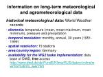 information on long term meteorological and agrometeorological data12