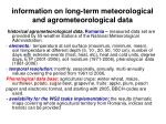 information on long term meteorological and agrometeorological data18