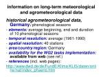 information on long term meteorological and agrometeorological data20