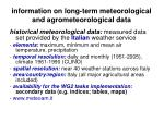 information on long term meteorological and agrometeorological data8