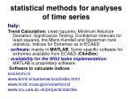 statistical methods for analyses of time series