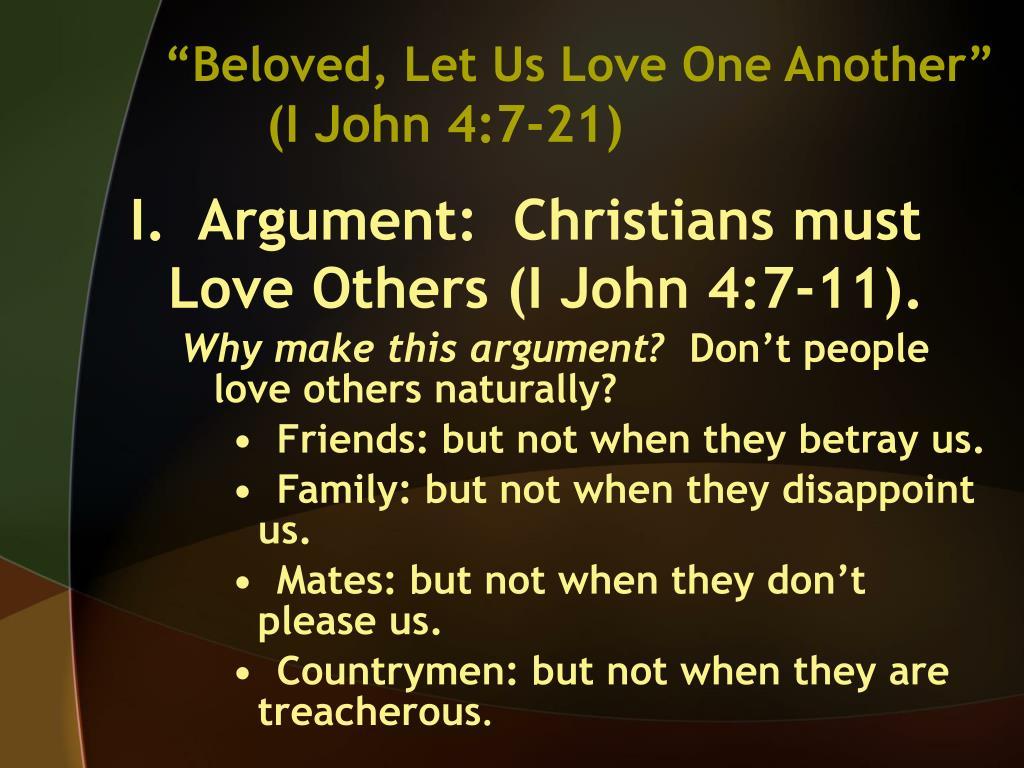 beloved let us love one another i john 4 7 21 l.
